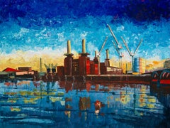 Battersea Power Station - city landscape London colourful painting contemporary