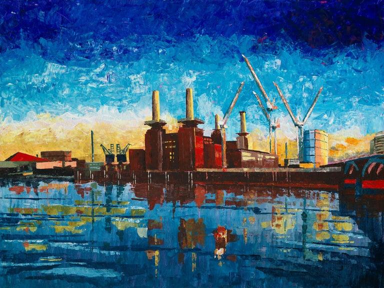 Peter Brimelow RIBA Landscape Painting - Battersea Power Station - city landscape London colourful painting contemporary