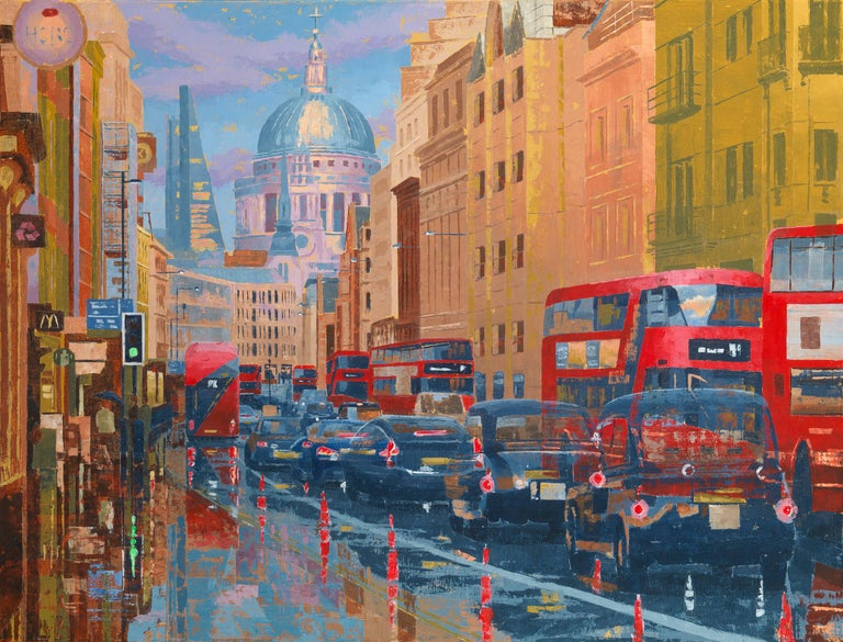 Peter Brimelow RIBA Landscape Painting - Buses and Black Cabs on Fleet Street II - buildings London cityscape painting