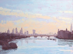 Early Morning, The City from Waterloo Bridge 2 original city landscape painting