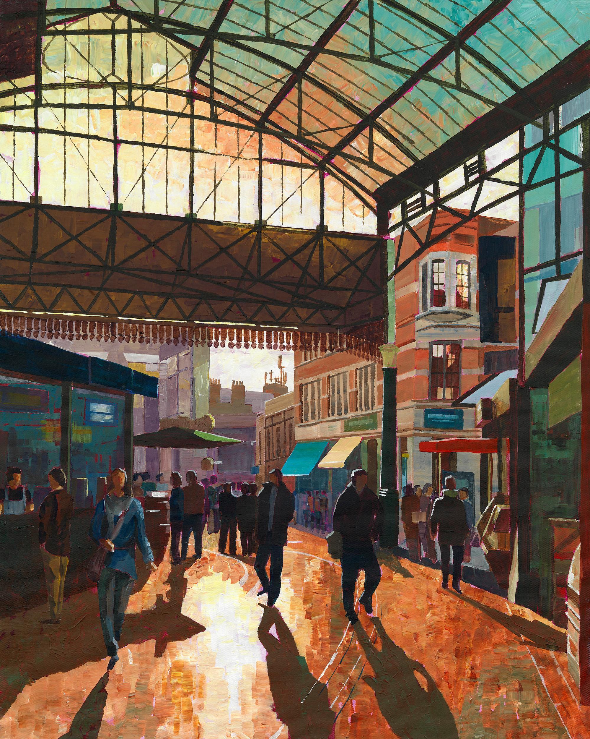 inter Sun in Borough Market - London colour city landscape painting contemporary