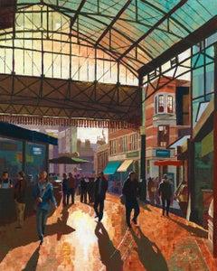 inter Sun in Borough Market  original city landscape painting CONTEMPORARY Art