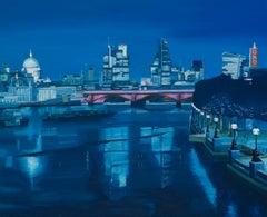 Night, The City from Waterloo Bridge original city landscape painting