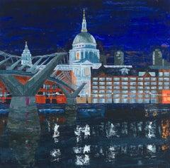 St Paul's and Millennium Bridge  original city landscape painting