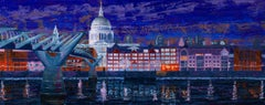 St Paul's and Millennium Bridge - original city landscape painting modern art