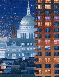 St Paul's North  Night original city landscape painting