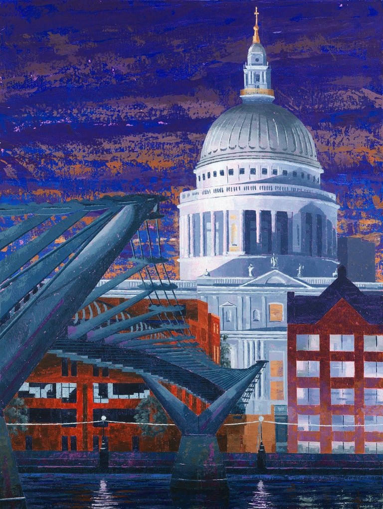 Peter Brimelow RIBA Abstract Painting -  St Paul's South Night - colourful London City surrealism painting-contemporary