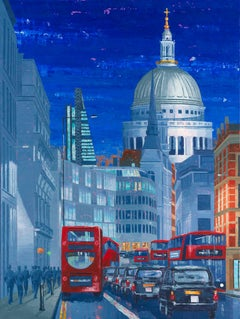 St Paul's West  Night original city landscape painting- contemporary Realism