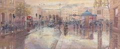 Summer Shower on the Strand 4 original city landscape painting