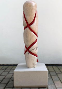 Praise by Peter Brooke-Ball - Rope and Marble Sculpture, abstract