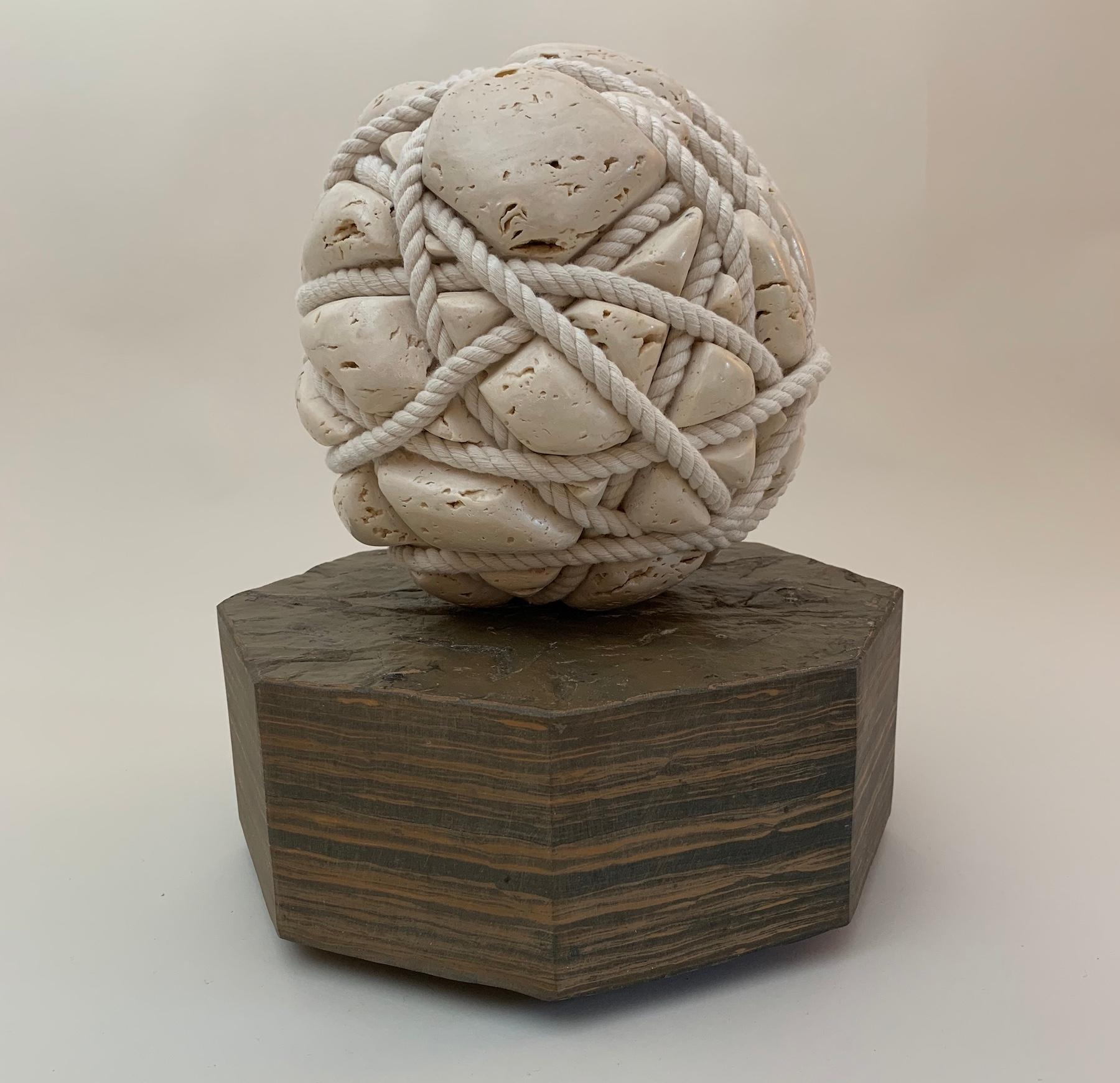 Resolved by Peter Brooke-Ball - Rope and Stone Sculpture, abstract
