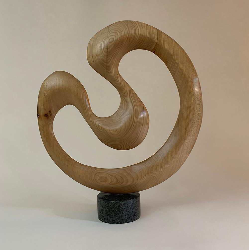 Swirl by Peter Brooke-Ball - Wood and Stone Sculpture, abstract