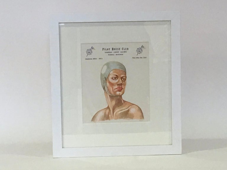 Contemporary artist Peter Buchman's colored pencil illustration on vintage hotel stationery with a painted white wood frame. Peter talks about this ongoing collection in his book - Hotel Stationery Drawings, A Collection by Peter Buchman. He writes,