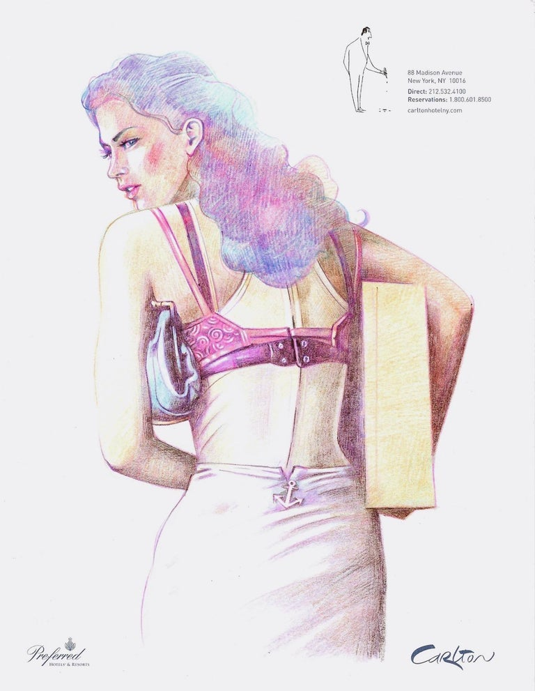 Painted Peter Buchman Colored Pencil Illustrations on Hotel Stationery, 2016 For Sale