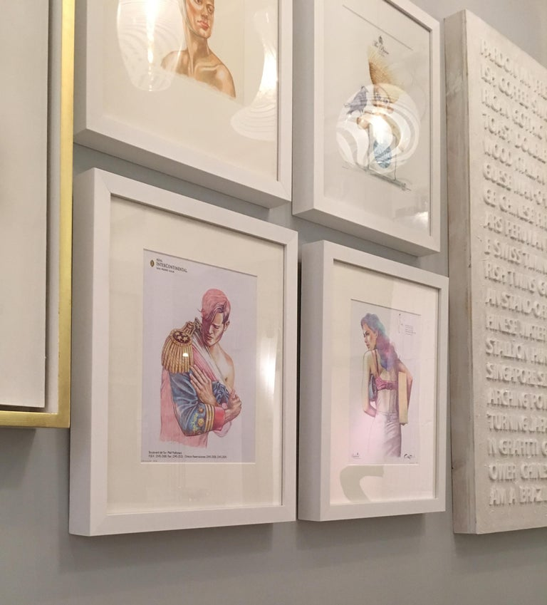 Peter Buchman Colored Pencil Illustrations on Hotel Stationery, 2016 In Excellent Condition For Sale In New York, NY