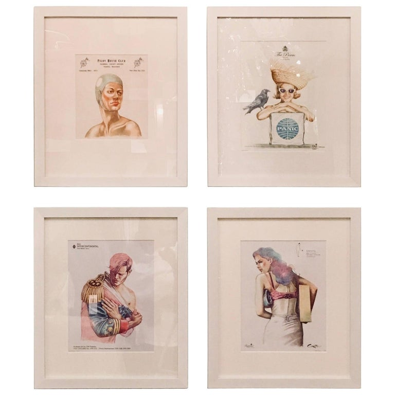 Peter Buchman Colored Pencil Illustrations on Hotel Stationery, 2016 For Sale