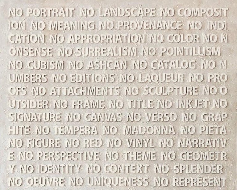 Contemporary artist Peter Buchman's No portrait, no landscape white painting is made of laser cut plexiglass, acrylic medium and enamel on wood. It's a part of his Voice over Paintings Series, one that poetically mocks knowledge and itself in an