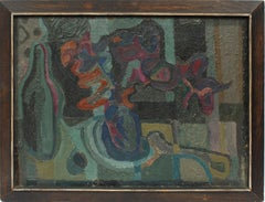 Mid Century Modern Indian Space Abstract Expressionist Original Oil Painting
