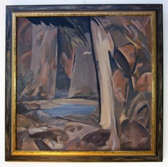 Abstract oil painting of a interior forest scene by modernist Peter Camfferman