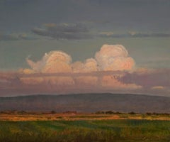 Clouds on the Mesa (big sky, soft colors, cumulus clouds, purple mountains)