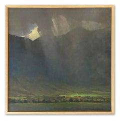 Rain Veil (rain showers, mountains, lush valley, white, slate grey, green)