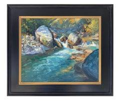 Summer Creek (turquoise water, cascades, boulders, lush evergreens)
