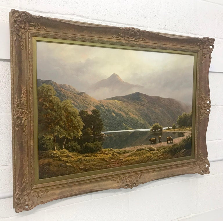 Large Mountain Landscape Painting with Highland Cows at Loch Lomond in Scotland For Sale 1