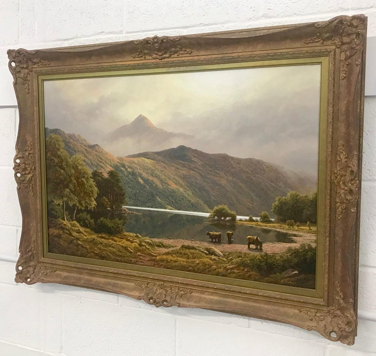 Large Mountain Landscape Painting with Highland Cows at Loch Lomond in Scotland For Sale 2