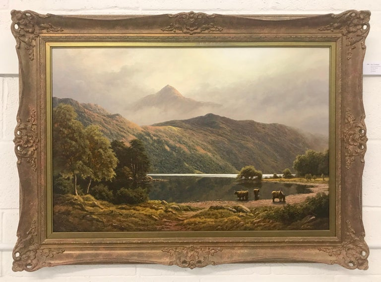 Large Mountain Landscape Painting with Highland Cows at Loch Lomond in Scotland For Sale 3