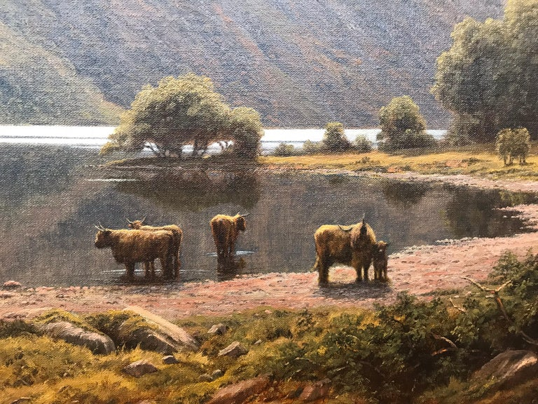 Large Mountain Landscape Painting with Highland Cows at Loch Lomond in Scotland For Sale 5