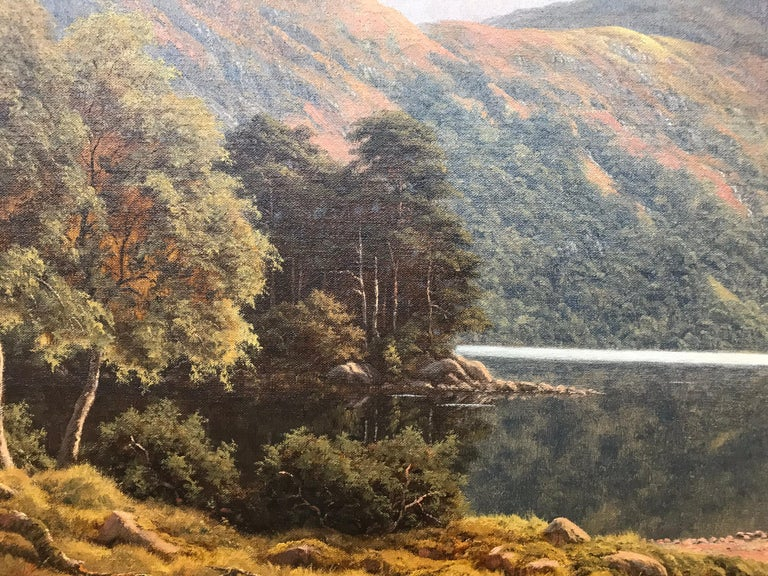 Large Mountain Landscape Painting with Highland Cows at Loch Lomond in Scotland For Sale 6