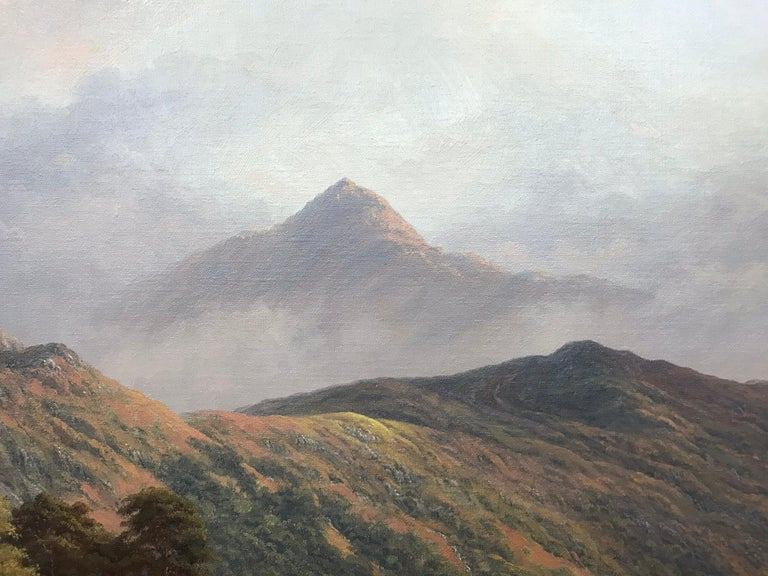 Large Mountain Landscape Painting with Highland Cows at Loch Lomond in Scotland For Sale 7