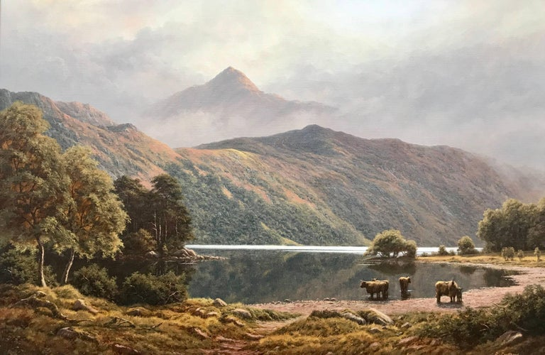 A large original painting by Peter Coulthard of Ben Lomond in Scotland with Highland Cows by the water's edge at Loch Lomond. This is largest known painting from Peter Coulthard on the market. His upbringing in the Pennine countryside and his