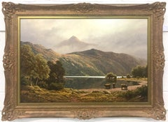Large Mountain Landscape Painting with Highland Cows at Loch Lomond in Scotland