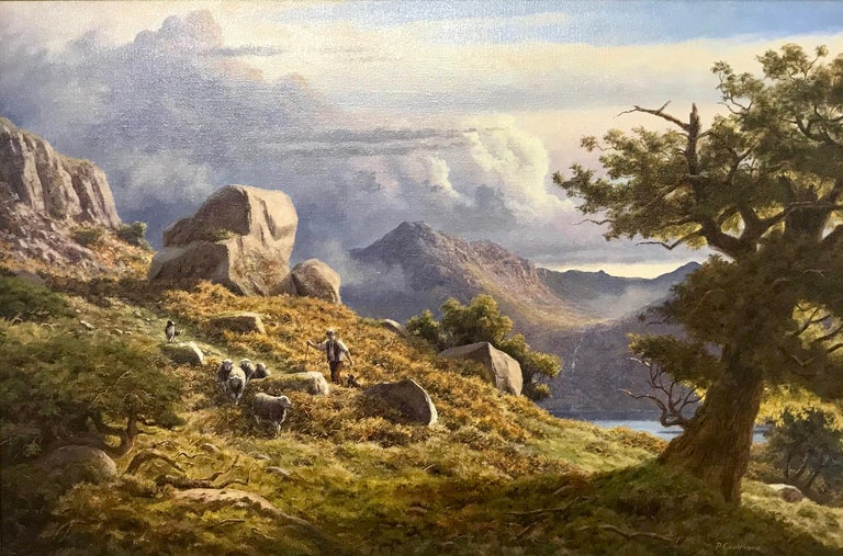 "A unique original oil painting by Peter Coulthard of Sheep, Dog & Shepherd in the Lake District, England. Entitled ""Gathering Herdwicks in the fells above Buttermere, Cumbria"".  Signed, Oil on Canvas, 74 x 49cm (30 x 20 inches).   Peter Coulthard"