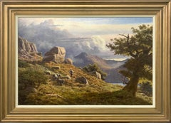 Mountain Landscape Painting with Sheep Dog & Shepherd in Lake District England