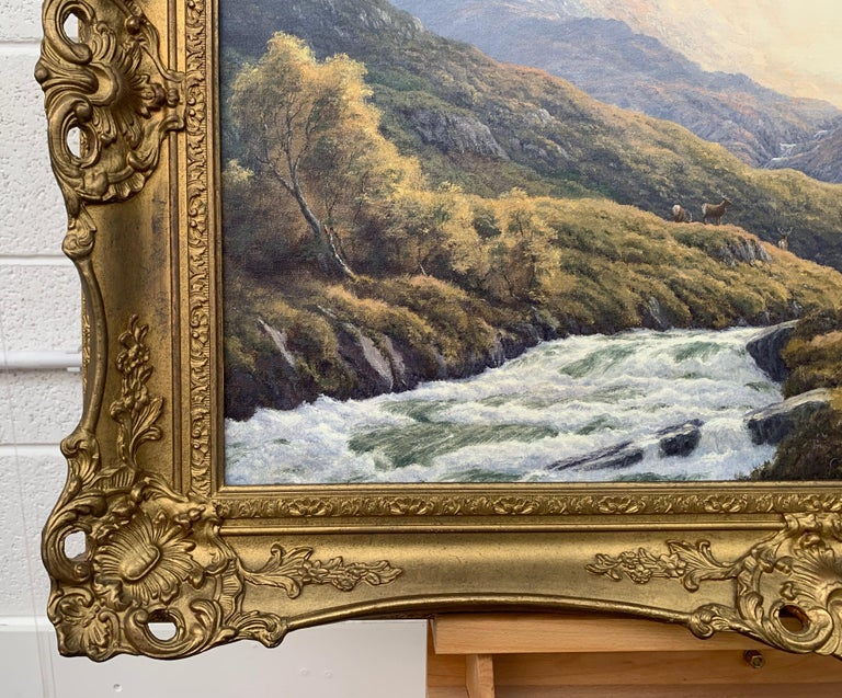 Wild Deer in Scottish Highland Forest with Mountain River by British Artist For Sale 7