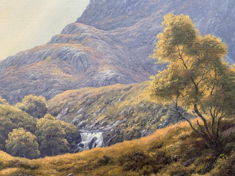 Wild Deer in Scottish Highland Forest with Mountain River by British Artist For Sale 9