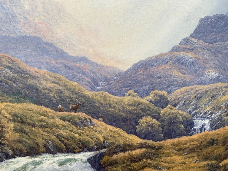 Wild Deer in Scottish Highland Forest with Mountain River by British Artist For Sale 10