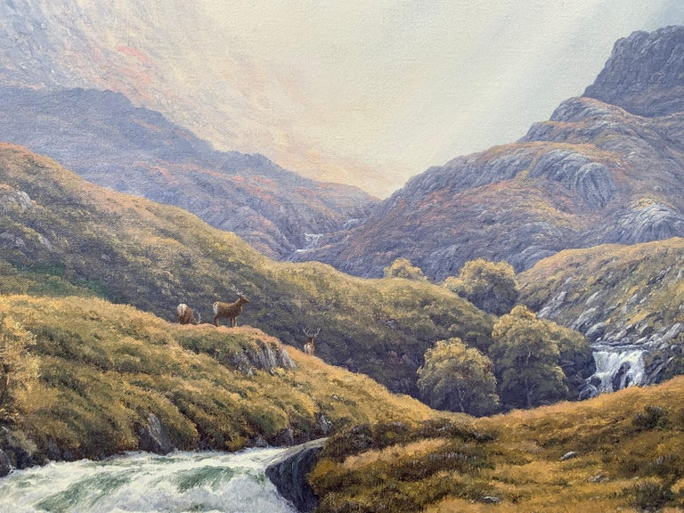 Wild Deer in Scottish Highland Forest with Mountain River by British Artist For Sale 13