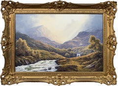 Wild Deer in Scottish Highland Forest with Mountain River by British Artist
