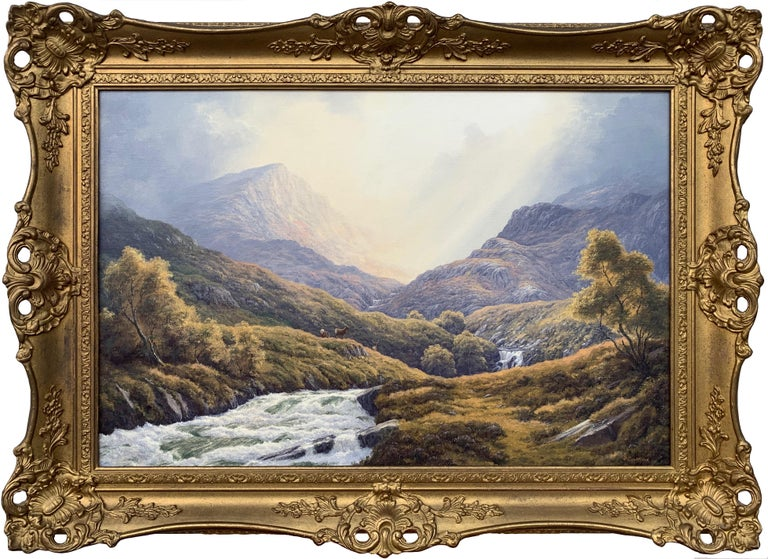 Peter Coulthard Animal Painting - Wild Deer in Scottish Highland Forest with Mountain River by British Artist