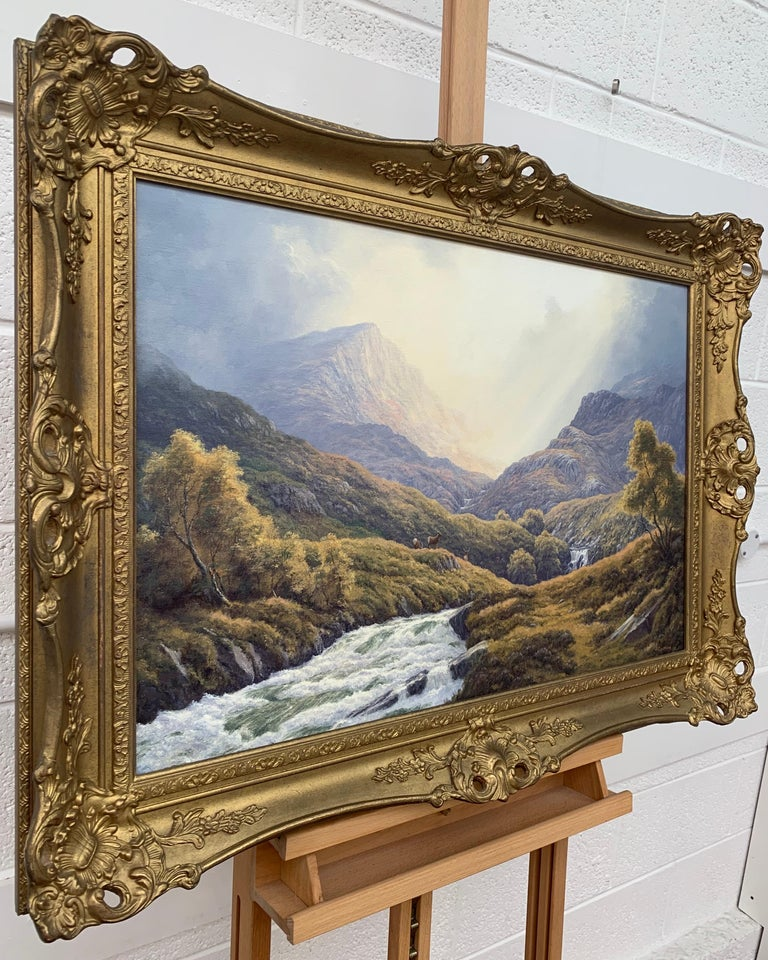 Wild Deer in Scottish Highland Forest with Mountain River by British Artist - Painting by Peter Coulthard