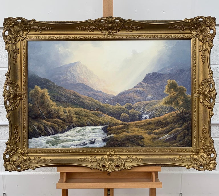 Wild Deer in Scottish Highland Forest with Mountain River by British Artist - Realist Painting by Peter Coulthard