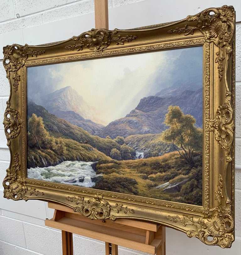 Wild Deer in Scottish Highland Forest with Mountain River by British Artist - Brown Animal Painting by Peter Coulthard