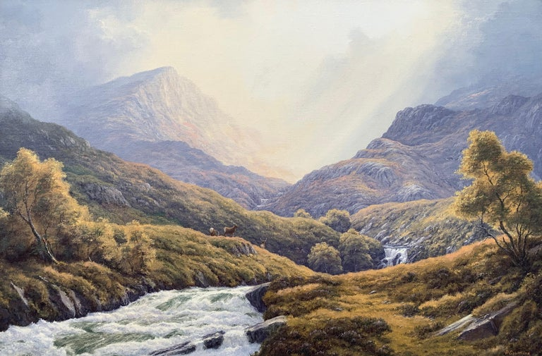 Wild Deer in Scottish Highland Forest with Mountain River by Modern British Artist entitled 'Summer's End in the Strathconon Forest'.  Art measure 30 x 20 inches Frame measures 36 x 26 inches  Peter Coulthard was brought up in the Pennine
