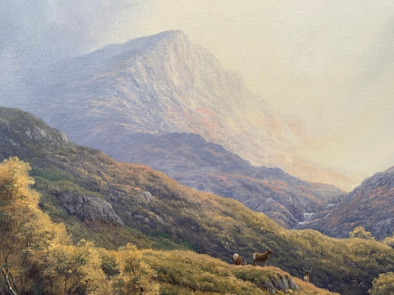 Wild Deer in Scottish Highland Forest with Mountain River by British Artist For Sale 1