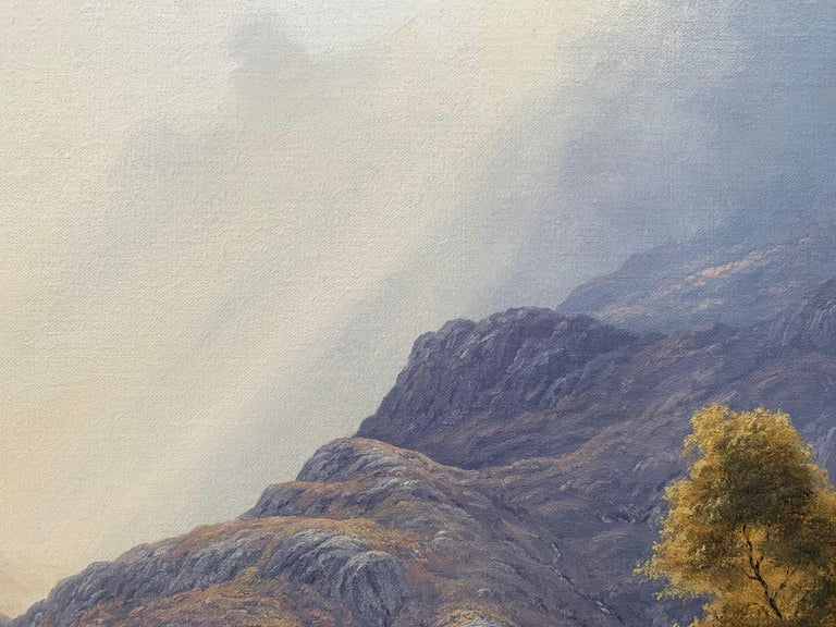 Wild Deer in Scottish Highland Forest with Mountain River by British Artist For Sale 3