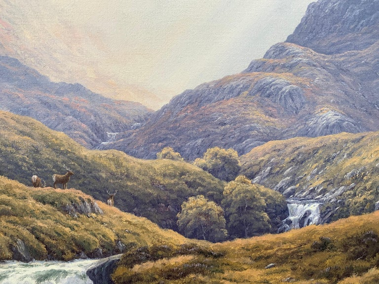 Wild Deer in Scottish Highland Forest with Mountain River by British Artist For Sale 4