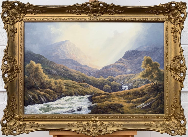 Wild Deer in Scottish Highland Forest with Mountain River by British Artist For Sale 14